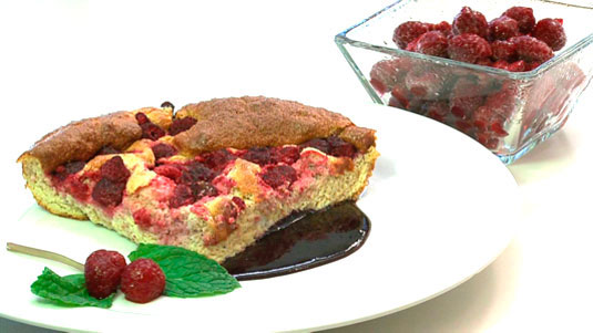 Orange Raspberry Frittata with Blueberry Sauce