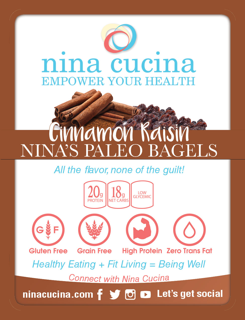 Nina's Paleo Bagels Cinnamon Raisin