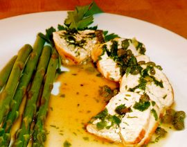 Artichoke-Stuffed Chicken with White Wine Sauce
