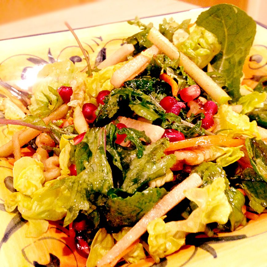 Baby Kale Salad with Walnuts & Apple Vinaigrette