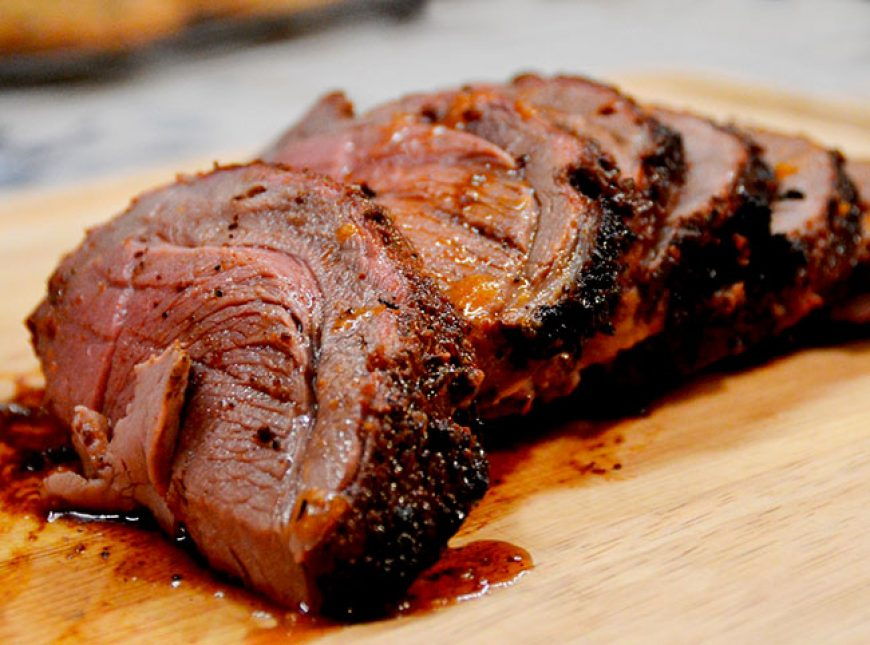 Coffee-Cocoa Spiced Leg of Lamb with Cherry Sauce