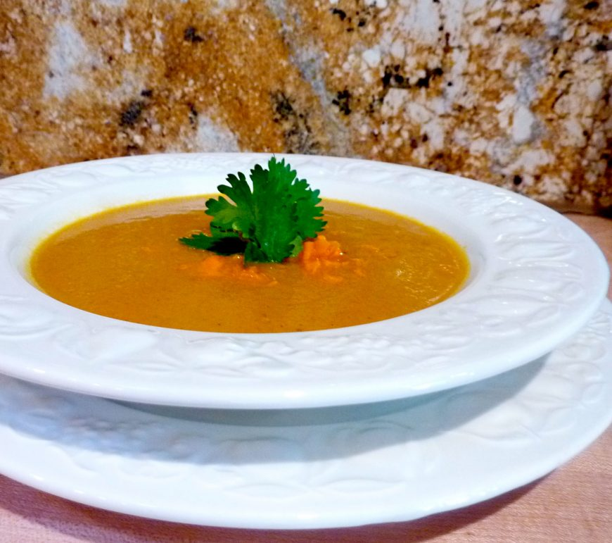 Orange-Scented Carrot Soup with Mango
