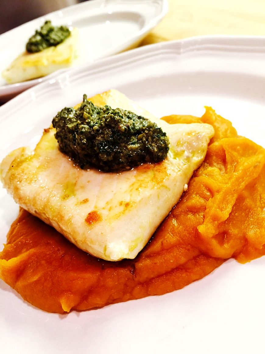 Pan-Roasted Halibut With Pumpkin Puree & Mint Pesto