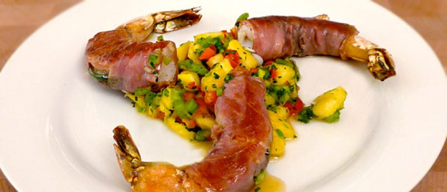 Prosciutto Wrapped Shrimp with Pineapple Salsa