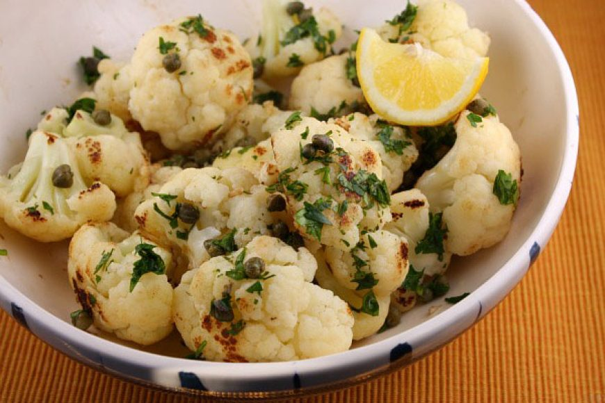 Roasted Cauliflower with Lemon, Capers and Garlic