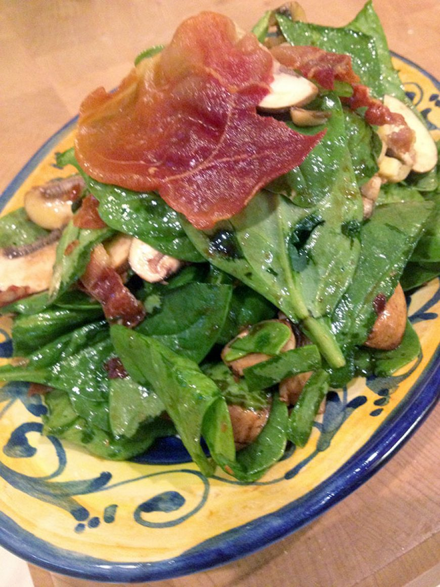 Spinach Salad with Fried Prosciutto & Chocolate Orange Vinaigrette