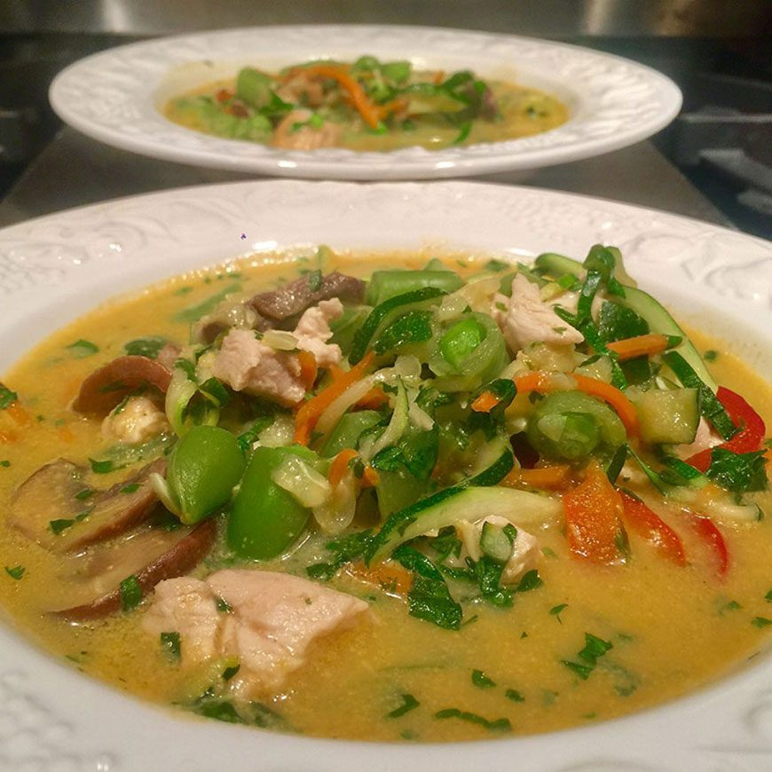 Thai Chicken Soup with Zoodles
