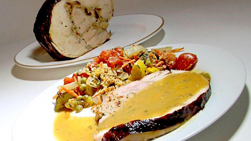 Turkey Roulade Stuffed With Sun Dried Tomato, Basil, Turkey Sausage Stuffing With Marsala Sauce