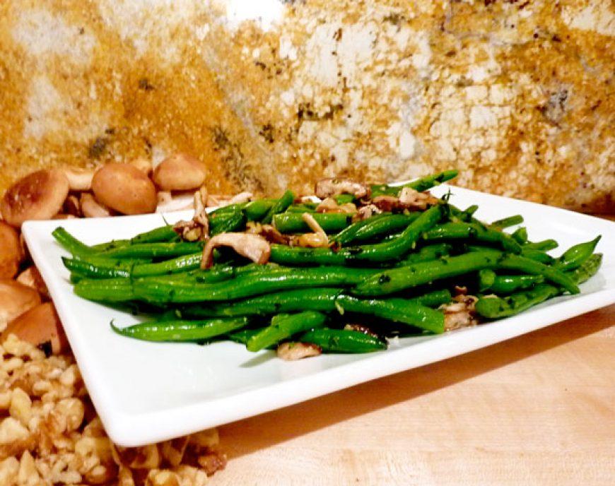 Walnut-Shitake Green Beans