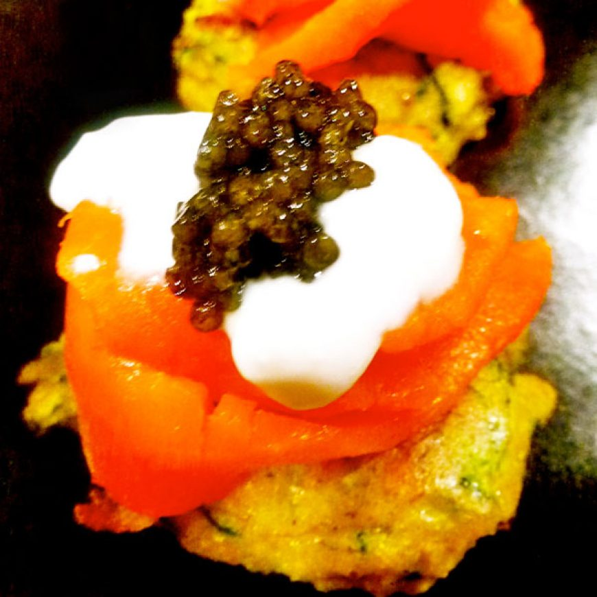 Zucchini Latkes with Smoked Salmon & Lemon-Yogurt Cream