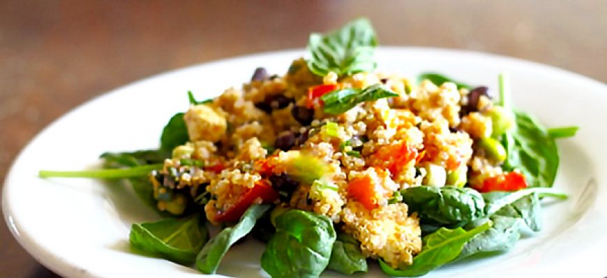 Basil Quinoa Salad with Black Beans & Peppers
