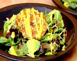 Crab Cakes with Mixed Greens & Mango Lime Vinaigrette
