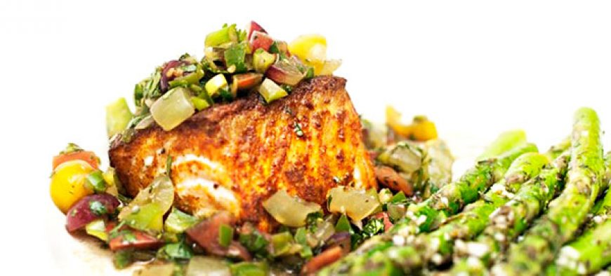 Curry Scented Salmon with Grape Salsa