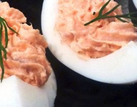 Deviled Eggs with Salmon and Goat Cheese