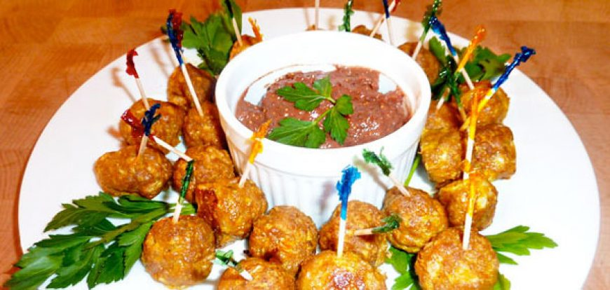 Pork Meatballs with Fig Mustard Sauce